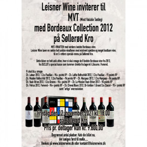 80034 MVT aften DUCLOT Bordeaux 2012 Søllerød Kro 12 nov 2021 med original 2012 kasse Udsolgt