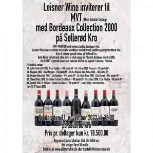 80058 MVT aften DUCLOT Bordeaux 2000 Søllerød Kro 11 nov 2022 med original 2000 kasse Udsolgt